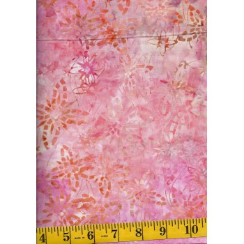 Timeless Treasures Tonga Batik B4929-SUMMER Pink, Peach & Tan Dashed Flowers & Stars