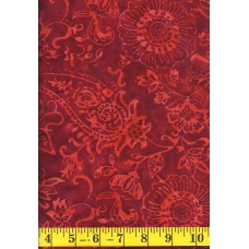Timeless Treasures Tonga Batik B6031 RED Orange Floral Paisley Pattern on Red