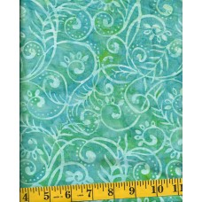 Wilmington Batik 22109-747 Aqua Swirls and Leaves on a Turquoise & Green Background
