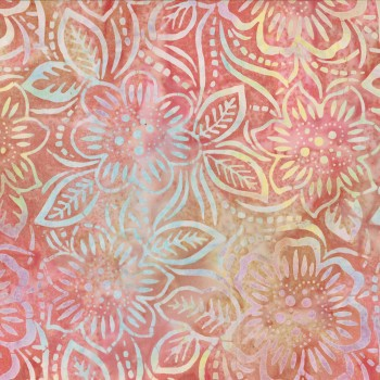 Wilmington Batik 22134-358 Pink Orange Dancing Flowers Batik with Aqua & Yellow Accents
