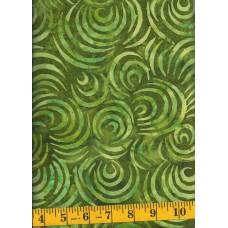 Wilmington Drifting Leaves Batik 22181-777 Green Crescent Shapes on Green