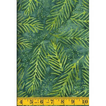 Wilmington Delicate Fronds Batik 22191-779 - Lime Green Fronds on Green